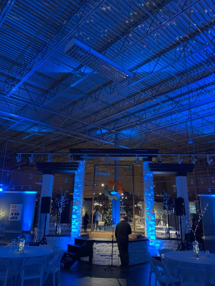 Stage Lighting and Decoration with a Blue Theme
